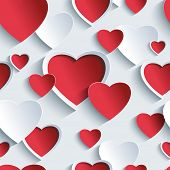 Valentines Day Seamless Pattern With Red - Grey 3D Hearts