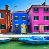Venice Landmark, Burano Island Canal, Colorful Houses And Boat, Italy