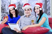 Hispanic Teenagers Celebrate Christmas