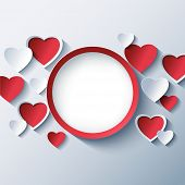 foto of 3d  - Abstract modern background with red and white 3d hearts - JPG