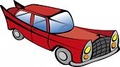 Red retro car vector illustration. EPS10 file with transparency