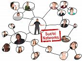 stock photo of young adult  - Linking grid of the social networks of a young adults of various nationalities - JPG
