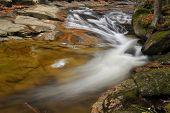 Wild River Stream With Cascade In Autumn