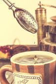 Tea Straining In Retro Vintage Style