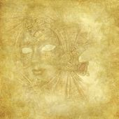 Rich Golden Venetian Mask On Floral Grunge Wallpaper