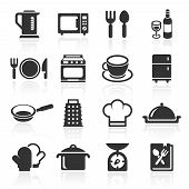 Kitchen and cooking icons white. Vector