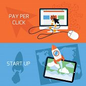 Concept of start up, pay per click web advertising