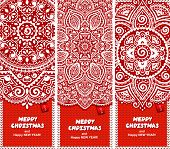 Beautiful Christmas set of banners with lace ornaments and knitt