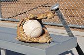 White Softball, Bat, And Glove