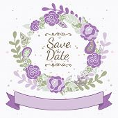 Decorative Floral Frame With Purple Roses And Leaves. Wedding, Birthday Or Save The Date Greeting Ca