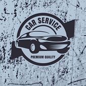 Vintage Style Car Repair Service Label On Rusty Background. Vector Logo Design Template