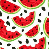 Watercolor Watermelon Slices, Seamless Background. Vector Illustration