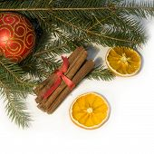 Christmas Red Ball, Twig Of Fir, Orang? And  Cinnamon