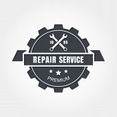 Vintage Style Car Repair Service Label. Vector Logo Design Template