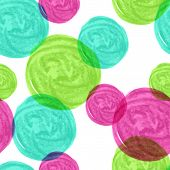 Watercolor Seamless Geometric Pattern With Colorful Circles. Vector Background