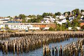 Wood Posts In Harbor Of Portland Maine