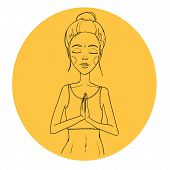 Hand Drawn Illustration - Woman Yoga. Relax. Vector.
