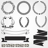 Set Of Retro Vector Graphic Elements For Design. Floral Frame And Ribbon