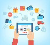 Background with symbols of online shopping - customer buying stuff online.