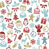Christmas seamless pattern with cute icons. Can be used as wrapping paper.