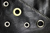 stock photo of stud  - Black Leather Background With Circle Studs Pattern - JPG