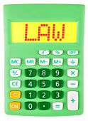 Calculator With Law On Display Isolated