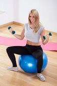 Woman Using Dumbbells And Fitness Ball
