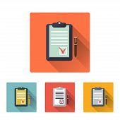 Checklist Icon, Flat Design On 4 Color Background