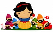 stock photo of dwarf  - a princess and her companion the seven dwarf - JPG