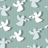 foto of angel-trumpet  - Christmas angels silhouette seamless pattern - JPG