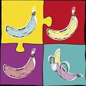 ??????Banana Pop Art.Vector illustration.Bananas set, vector hand drawing.Tropical fruit