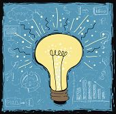 Light bulb idea concept template.Network process diagram concept idea.