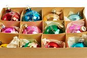 Christmas Balls In A Carboard Box