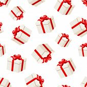 Seamless background with white gift boxes with red bows. Vector illustration.