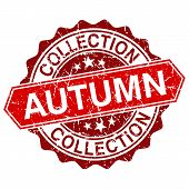 Autumn Collection Red Vintage Stamp Isolated On White Background