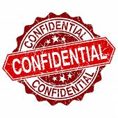Vector Confidential Red Vintage Stamp Isolated On White Background