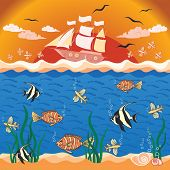 Vector illustration with fishes and ship.