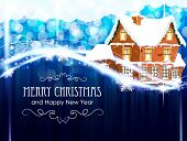 Brick Cottage  On A Blue Christmas Background