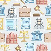 Law contour icons seamless pattern in flat design style.