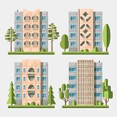 stock photo of cell block  - Set of vector flat style facades of panel houses - JPG