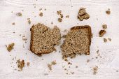 foto of whole-grain  - whole grain buckwheat bread on white wooden background homemade - JPG