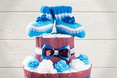 picture of diaper  - cake made from diapers on white background - JPG
