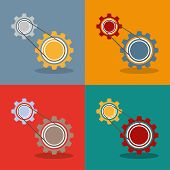 image of four-wheel drive  - 2 gears with drive chain 4 variations Eps 10 vector file - JPG