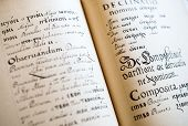 picture of grammar  - The Old Slavonic Grammar. Open book. Close up. ** Note: Visible grain at 100%, best at smaller sizes - JPG