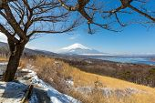 picture of mount fuji  - Aerial panorama view point of Mount Fuji at Yamanaka Lake in Winter - JPG