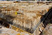 stock photo of formwork  - Wood formwork and reinforcing steel bars use in construction site for ground beam - JPG