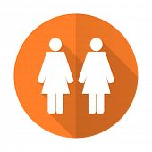 picture of gay symbol  - couple orange flat icon people sign team symbol  - JPG