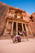 picture of treasury  - The treasury or Al Khazna it is the most magnificant and famous facade in Petra Jordan it is 40 meters high 2014 in Jordan - JPG