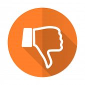 stock photo of dislike  - dislike orange flat icon thumb down sign - JPG
