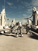 picture of battle  - Science fiction illustration of a group of alien battle robots defending a bridge - JPG